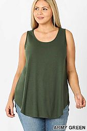 PLUS SLEEVELESS ROUND NECK ROUND HEM TOP