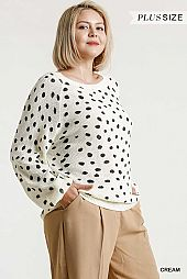 Dalmatian Hand Stamped Round Neck Pullover Sweater
