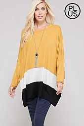 Plus Color Block Oversize Knit Top