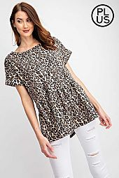 Plus Animal Printed  Baby Doll Top