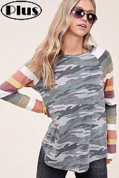 TERRY CAMOUFLAGE MULTI STRIPE MIX LONG SL PLUS TOP