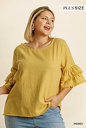 Half Layered Bell Sleeve Round Neck Top