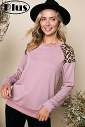 TERRY CHEETAH PRINT SOLID MIX BANDED BTTM PLUS TOP