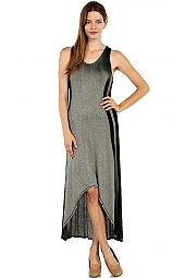 OMBRE STRIPE PRINT HI-LO TANK MAXI DRESS
