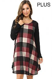 PLUS SOLID SLEEVES CHECKER TRAPEZE DRESS