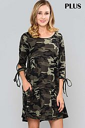 PLUS CAMOUFLAGE PRINT TIE SLEEVE DRESS