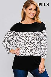 SOLID AND PRINT ROUND NECK TOP