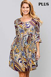 PAISLEY PRINT ROUND NECK RUFFLE SLEEVE DRESS