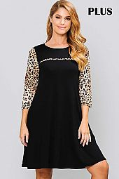 ANIMAL PRINT CONTRAST ROUND NECK JERSEY DRESS