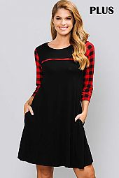 PLUS CHECKER PRINT SLEEVE ROUND NECK DRESS