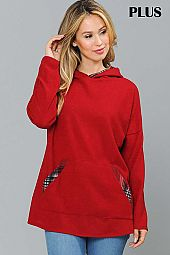PLUS PLAID PRINT CONTRAST SOLID HOODIE TOP