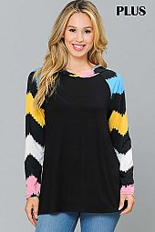 PLUS MULTI COLOR CHEVRON PRINT SLEEVE HOODIE TOP