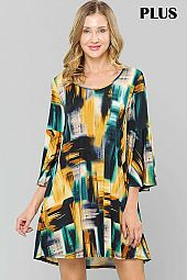 PLUS MULTI COLOR PAINT PRINT BELL SLEEVE DRESS
