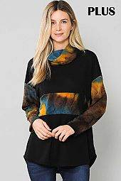 TIE DYE PRINT COLOR BLOCK COWL NECK TOP