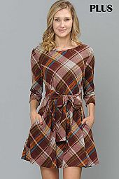 PLUS PLAID PRINT FRONT WAIST TIE DRESS
