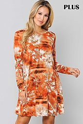 PLUS TIE DYE PRINT ROUND NECK DRESS