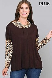 SOLID AND ANIMAL MIX PRINT COWL NECK TOP