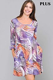 PLUS PRINT RUFFLE SLEEVE ROUND NECK DRESS