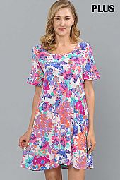 PLUS FLORAL PRINT RUFFLE SLEEVE DRESS