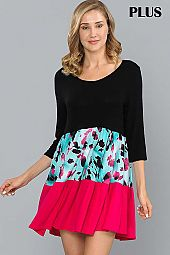 PLUS COLOR BLOCK  RUFFLE HEM DRESS