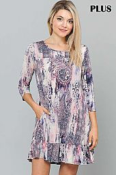 MULTI PRINT RUFFLE HEM ROUND NECK DRESS