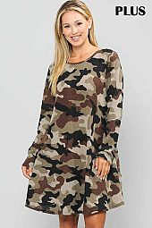 PLUS CAMOUFLAGE PRINT ROUND NECK DRESS