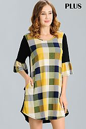 PLUS SOLID BACK CHECKER DRESS