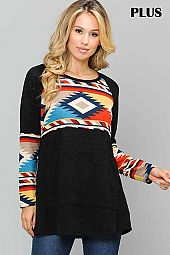 SOLID AND AZTEC PRINT ROUND NECK TOP