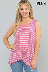 PLUS STRIPE PRINT TWIST HEM JERSEY TANK TOP