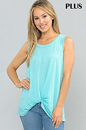 PLUS SOLID TWIST HEM JERSEY TANK TOP