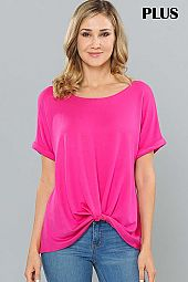 PLUS SOLID TWIST HEM BOAT NECK JERSEY TOP