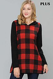 PLUS CHECKER PRINT HOODIE TOP
