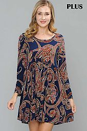 PLUS PAISLEY PRINT ROUND NECK TRAPEZE DRESS