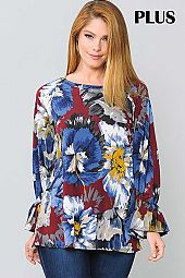 PLUS FLORAL PRINT BELL SLEEVE TOP
