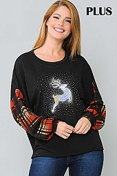 PLAID AND ELK PRINT CONTRAST ROUND NECK TOP
