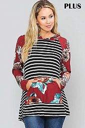FLORAL AND STRIPE MIX PRINT PLUS HOODIE TOP