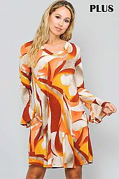 PRINT RUFFLE BELL SLEEVE V NECK DRESS