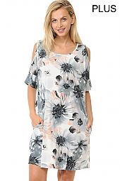 PLUS BIG FLORAL PRINT COLD SHOULDER DRESS