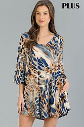 PLUS TRUMPET SLEEVES LEOPARD DRESS