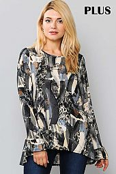 PRINT ROUND NECK RUFFLE SLEEVE TOP