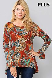 PAISLEY PRINT ROUND NECK RUFFLE SLEEVE TOP
