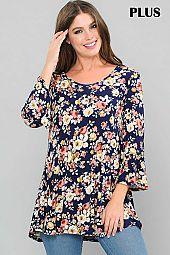 FLORAL PRINT ROUND NECK RUFFLE SLEEVE TOP
