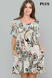 PLUS PAISLEY PRINT RUFFLE SLEEVE DRESS