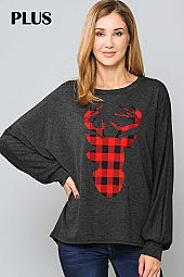 PLAID ELK PRINT ROUND NECK TOP