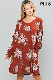 PLUS FLORAL PRINT OPEN SLEEVE CONTRAST DRESS