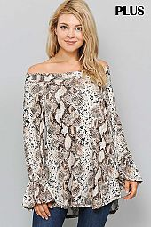 SNAKE PRINT RUFFLE BELL SLEEVE OFF SHOULDER TOP