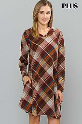 PLUS PLAID PRINT HOODIE DRESS