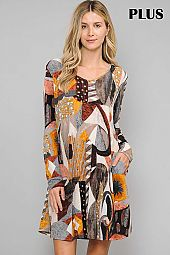 MULTI PRINT V NECK TRAPEZE DRESS