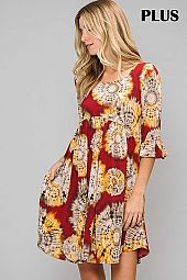 PLUS PRINT ROUND NECK RUFFLE SLEEVE DRESS