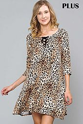 PLUS ANIMAL PRINT LACE UP RIBBON TIE TRAPEZE DRESS